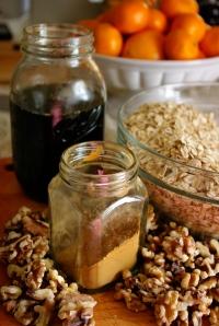 cinnamon, oats, and walnuts