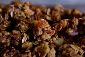 crunchy chunks of maple-walnut granola