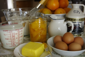 flour, eggs, milk, baking powder - basic pancake ingredients